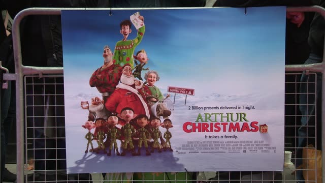 poster at the arthur christmas world premiere at london england - christmas poster stock videos & royalty-free footage