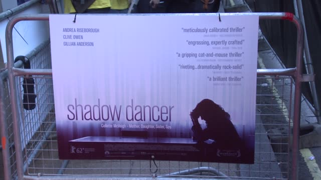 poster at the shadow dancer uk premiere at cineworld haymarket on august 13, 2012 in london, england - filmpremiere stock-videos und b-roll-filmmaterial