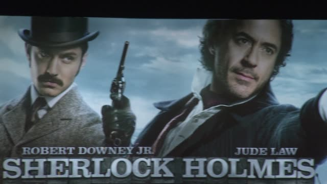 poster at the sherlock holmes game of shadows press conference at one mayfair on 12th december 2011 in london uk - sherlock holmes stock videos & royalty-free footage