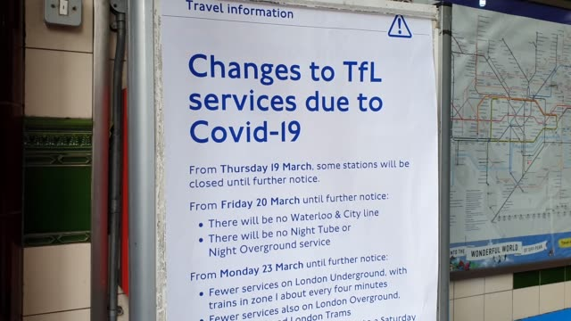 a poster displays changes to services at lambeth north station during the coronavirus pandemic on march 20 2020 in london england - travel poster stock videos & royalty-free footage