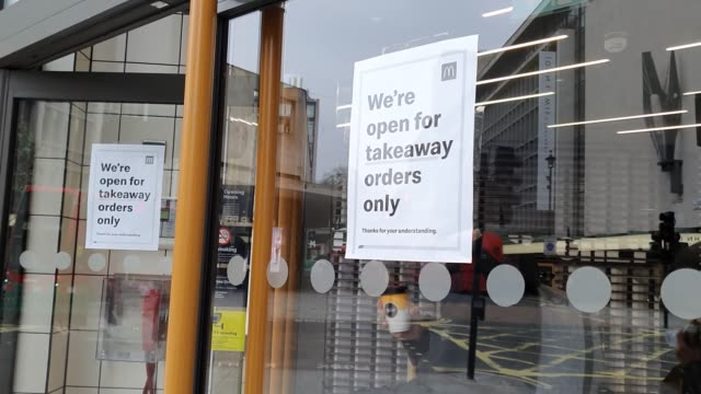 poster displays the macdonalds on oxford street is only open for takeaway orders during the coronavirus pandemic on march 18, 2020 in london, england. - brian dayle coronavirus stock videos & royalty-free footage