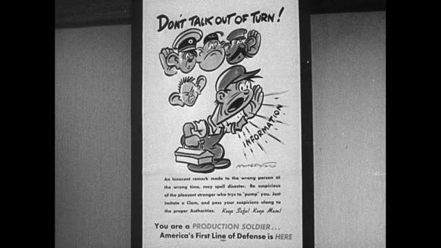 Poster 'Don't Talk Out of Turn' cartoon Drafting room w/ draftsmen working on designs Blueprint for American Industrial Plant