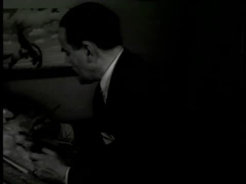 poster 'exposicion de arte panamericano' florencio molina campos painting at table. satire painting of man on horse. benito quinquela martin charcoal... - satire stock-videos und b-roll-filmmaterial