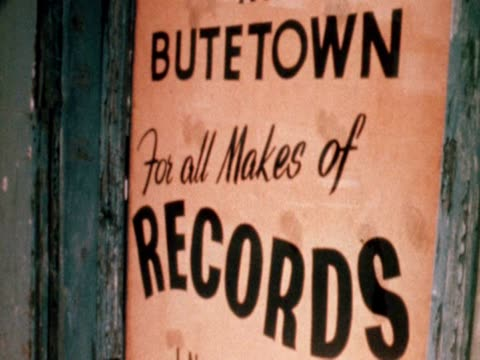 poster for a record shop in the butetown area of cardiff 1968 - poster stock videos & royalty-free footage
