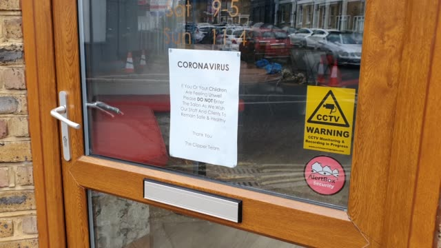 a poster on a hair salon window in east dulwich informs patrons it has closed during the coronavirus pandemic on march 19 2020 in london england - brian dayle coronavirus stock videos & royalty-free footage