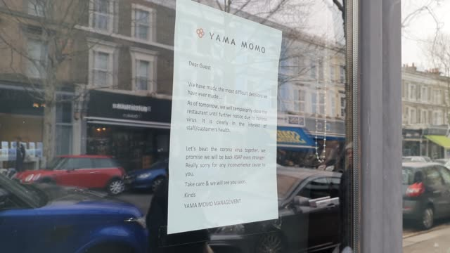 a poster on a japanese restaurant's window in east dulwich displays that it is closed during the coronavirus pandemic on march 19 2020 in london... - brian dayle coronavirus stock videos & royalty-free footage