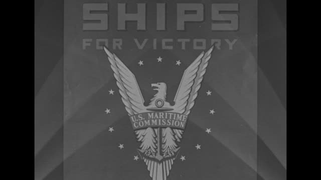 VS CU poster Ships for Victory from US Maritime Commission with quote from US President Franklin D Roosevelt Speed More Speed emblem features eagle...