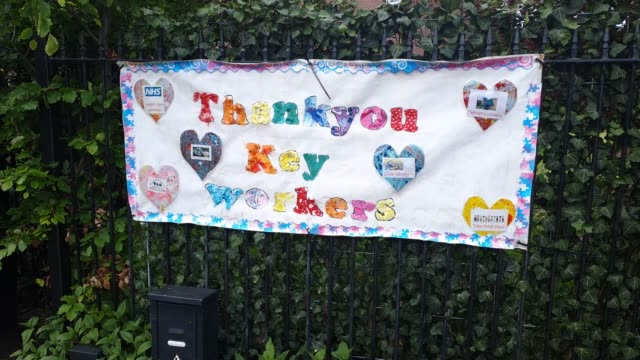 poster supporting key workers at dulwich hamlet junior school during the coronavirus pandemic on may 14, 2020 in london, england. the prime minister... - brian dayle coronavirus stock videos & royalty-free footage
