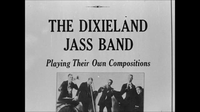 poster: victor records ad 'the dixieland jass band' billing poster: eisenweber first new york city venue. music memorabilia. - new york city 1910s stock videos & royalty-free footage