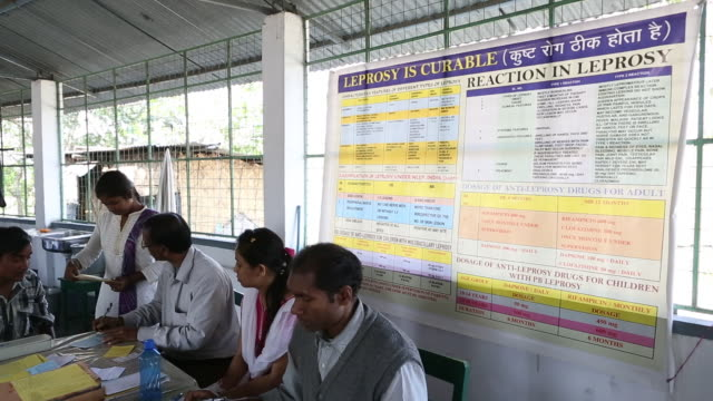 poster with the inscription leprosy is curable in front of it a patient being admitted to the hospice the hospice is located in the northeast of... - tuberculosis stock videos and b-roll footage
