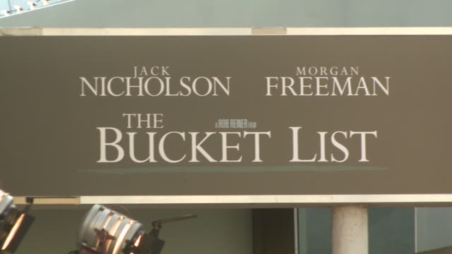 posters at the 'the bucket list' premiere at the cinerama dome at arclight cinemas in hollywood, california on december 16, 2007. - bucket list stock videos & royalty-free footage