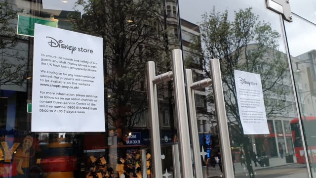 posters display that the disney store is closed during the coronavirus pandemic on oxford street on march 18, 2020 in london, england. - disney stock videos & royalty-free footage