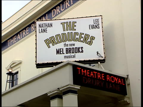 posters for 'the producers' musical starring nathan lane and lee evans ext the producers' sign over theatre royal drury lane gv producers sign over... - producer stock videos & royalty-free footage