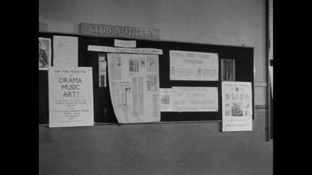 montage posters in a hall and mounted on bulletin boards / united kingdom - notice board stock videos and b-roll footage