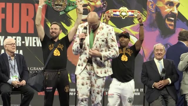 postfight press conference after tyson fury produced a stunning performance to stop deontay wilder in the seventh round to finally win the wbc world... - boxing heavyweight stock videos & royalty-free footage