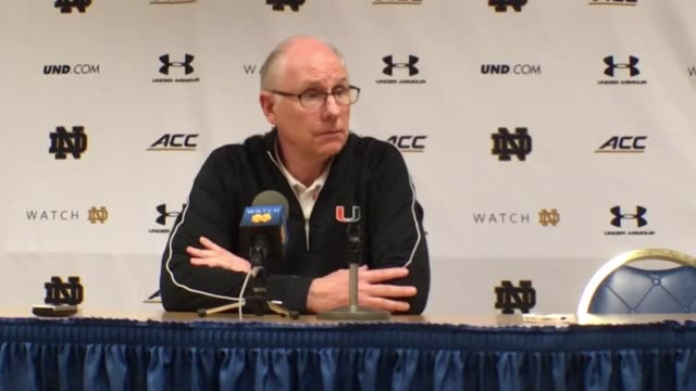 Postgame press conference with Miami coach Jim Larranaga Miami defeated Notre Dame 68 to 50 to move back into a tie with North Carolina for...