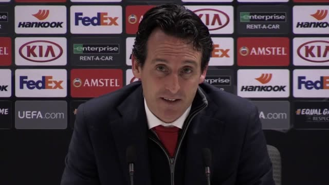 Postmatch press conference with Arsenal manager Unai Emery following his side's 10 win over Qarabag FK in the Eurpoa League