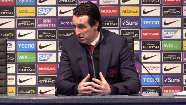 postmatch press conference with arsenal manager unai emery following their 31 loss against manchester city in the premier league - sportliga stock-videos und b-roll-filmmaterial
