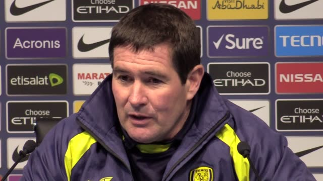 postmatch press conference with burton albion manager nigel clough following their 90 loss to man city in the first leg of the semifinal of the... - first leg stock videos and b-roll footage