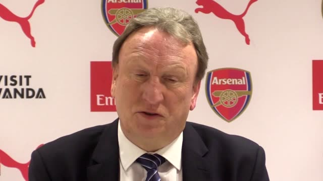 Postmatch press conference with Cardiff manager Neil Warnock after his side's 21 defeat at Arsenal in the Premier League