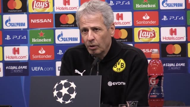Postmatch press conference with Dortmund manager Lucien Favre after their 10 Champions League loss at Signal Iduna Park against Tottenham