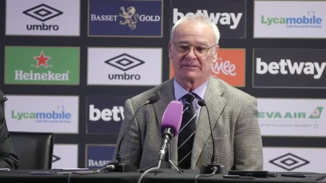 vídeos de stock e filmes b-roll de post-match press conference with fulham manager claudio ranieri after his side's 3-1 defeat to west ham united in the premier league. ranieri says... - var