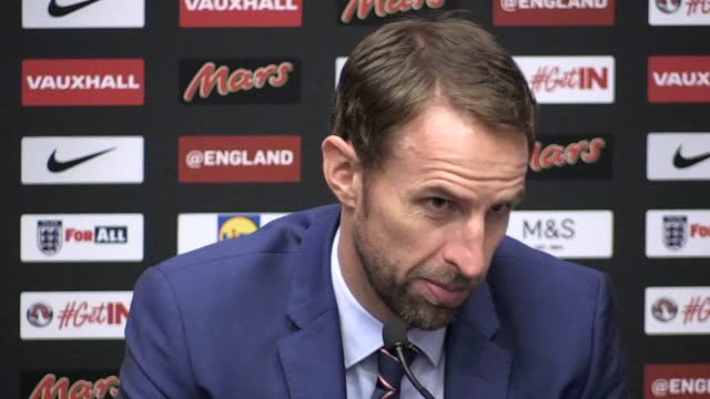 Postmatch press conference with Gareth Southgate after England's 21 victory over Slovakia in their World Cup qualifying match