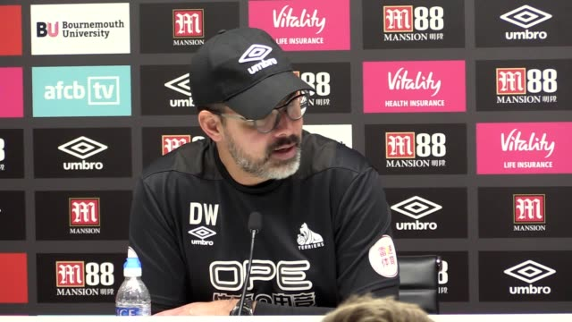 post-match press conference with huddersfield manager david wagner following his side's 2-1 defeat to bournemouth in the premier league. - huddersfield town football club stock videos & royalty-free footage