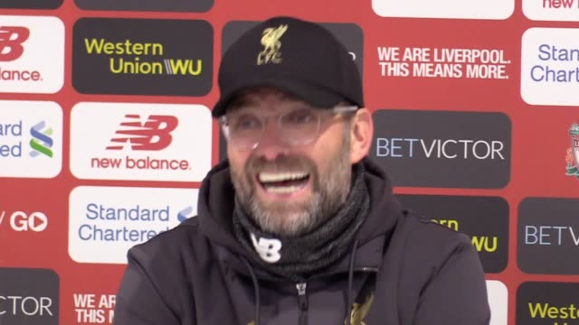 postmatch press conference with liverpool manager jurgen klopp following their 50 win against watford in the premier league - press room stock videos & royalty-free footage