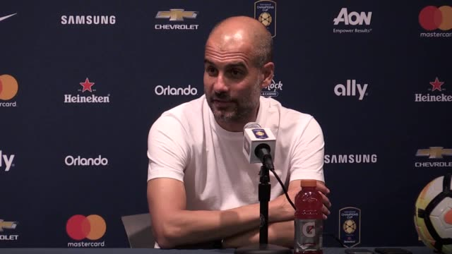 Postmatch press conference with Manchester City manager Pep Guardiola following the loss to Manchester United in a preseason friendly at the NRG...