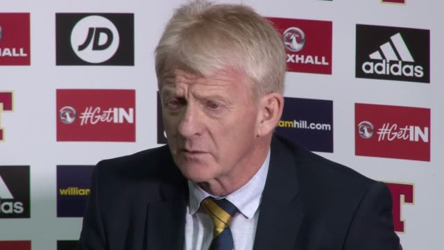 postmatch press conference with scotland manager gordon strachan after the scots 10 world cup qualifying victory at hampden - ゴードン ストラハン点の映像素材/bロール