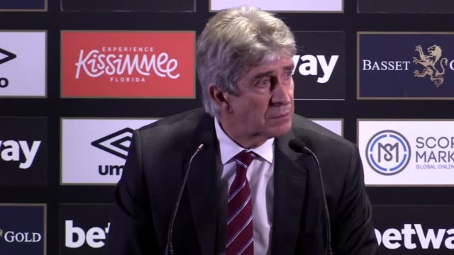 postmatch press conference with west ham united manager manuel pellegrini following his side's 11 draw against liverpool in the premier league - 後を追う点の映像素材/bロール