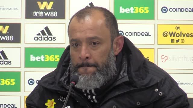 postmatch press conference with wolves manager nuno santo espirito following their 21 win against manchester united in the premier league - 後を追う点の映像素材/bロール