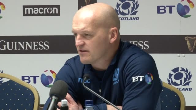 Postmatch press conferences with Scotland captain Greig Laidlaw head coach Gregor Townsend and winger Blair Kinghorn after they beat Italy 3320 in...