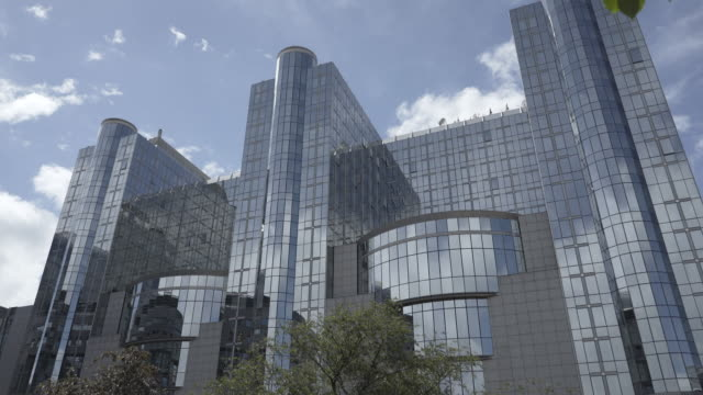 postmodern architecture of the european parliament, brussels, belgium. - postmodern stock videos and b-roll footage