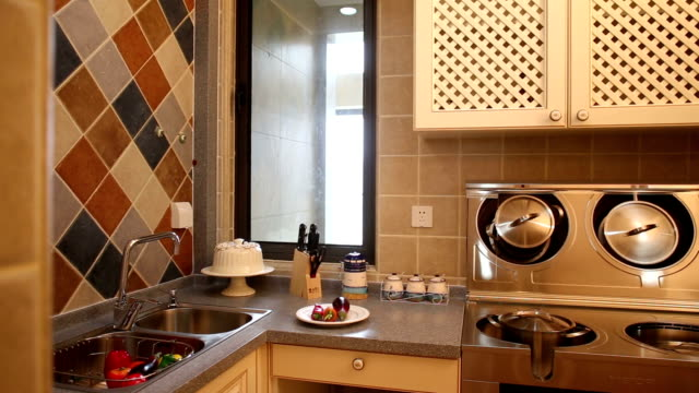 postmodern kitchen interior and furnitures, real time. - postmodern stock videos and b-roll footage