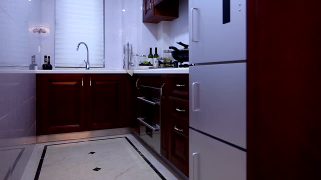 Postmodern Kitchen Interior And Furnitures Real Time Stock Footage