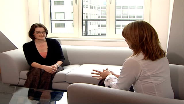 post-natal depression: close up; int wright sitting with charlotte davies - postpartum depression stock videos & royalty-free footage