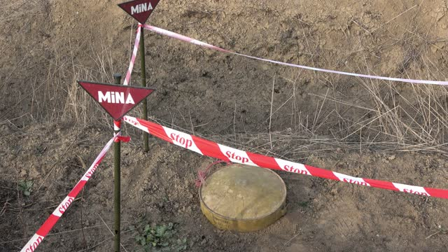 posts mark the location of a detected anti-tank mine during a mine clearing operation by the azerbaijan national agency for mine action in a... - 14 15 years stock videos & royalty-free footage