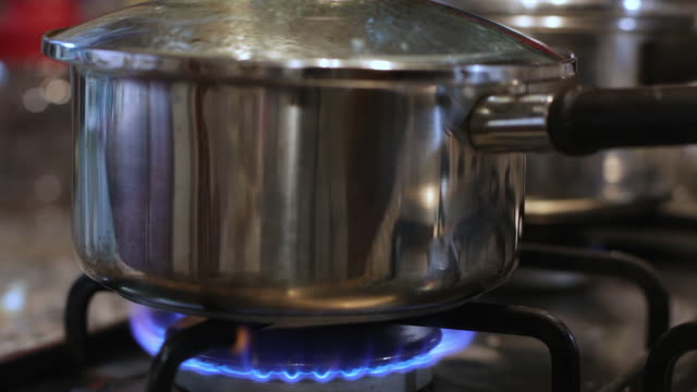 pot boiling on kitchen stove - kochgeschirr stock-videos und b-roll-filmmaterial