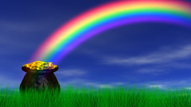 pot of gold at end rainbow (reveal + loop) - rainbow stock videos & royalty-free footage