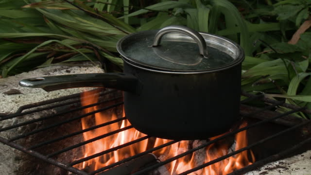 pot on open flame grill - lid stock videos & royalty-free footage