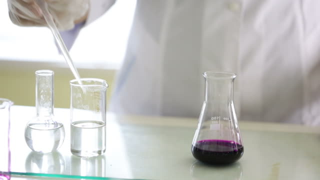 potassium permanganate color changing reaction - hydrochloric acid stock videos and b-roll footage