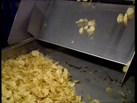ms potato chips falling down chute onto conveyor belt - crisps stock videos & royalty-free footage
