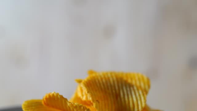 CU/Potato fries, tableware Potato spicy delicious in a rotating dish.