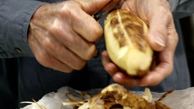 potatis kokar på spisen. - skal plantdel bildbanksvideor och videomaterial från bakom kulisserna