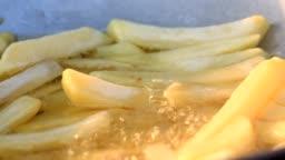 Potatoes fried in hot oil