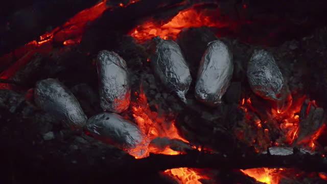 Potatoes in campfire, nightshot