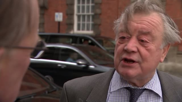 potential conservative party leadership contenders england london ext ken clarke mp with reporter inshot / interview sot - 政治家 ケネス・クラーク点の映像素材/bロール