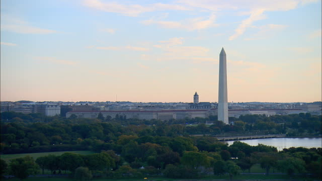 aerial potomac river and washington monument, washington d.c., usa - washington monument stock videos and b-roll footage